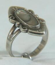 Vintage Hallmarked Sterling Silver Cabochon Set Abalone Ring 5 Grams Size 7