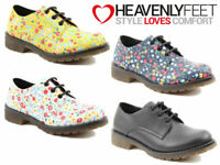 Ladies Lace Up Shoes Heavenly Feet Low Heel Casual Floral Comfort Stylish Mod