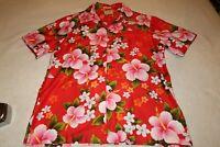 Vintage 60s/70s Ui-Maikai Flower red Hawaiian Aloha Shirt size xl GREAT SHAPE
