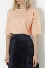 TopShop - Peach Knitted Sequin Front Crop Jumper - Size 10