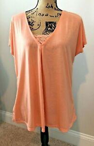 ~Jaclyn Smith Dark Peach Size XL Cap Sleeve Knit Top~Lace Insert @V-Neck~