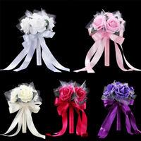 Romantic Crystal Flower Rose Bouquet Wedding Bride Bridesmaid Flower-Girl Wand.