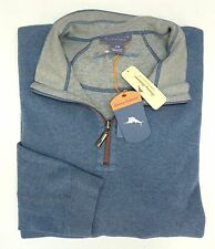 NWT Tommy Bahama Blue 1/4 Zip Reversible Sweater Mens XLT 3XB 2XT 2XB Blue Gray