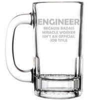 12oz Beer Mug Stein Glass Engineer Miracle Worker Job Title Funny