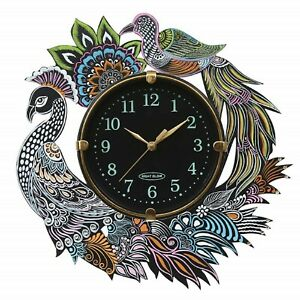 Wall Clock Round Analog Hand Painted Peacock Display Vintage Wooden Clock 13Inch