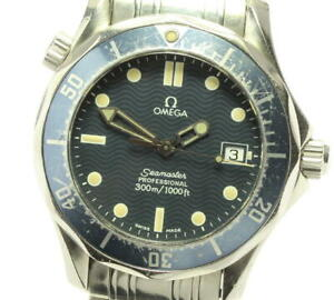 OMEGA Seamaster300 2561.80 Date Navy Dial Quartz Boy's Watch_576885
