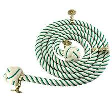 28mm Natural Cotton Green Wormed Bannister Rope 12 FT c/w 4 Brass Fittings