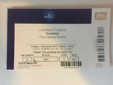 USED KASABIAN TICKET STUB @ O2 ARENA, LONDON 1st DECEMBER 2017 - MINT CONDITION