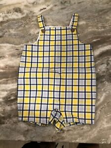 Janie & Jack Baby Boy Blue Yellow Plaid Shortall Overall Romper Shorts 3-6 Month