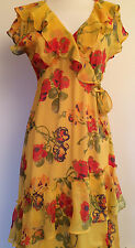 Sundance Long Silk Dress Sz 4 56834 Multicolor Print Flounced Slv &Hem $198