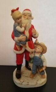 "Homco Denim Days # 8951 Vintage 1985 Christmas Santa Bell Ringer 8"" Figurine"