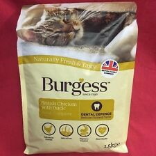 Burgess Dry Adult Cat Food Chicken Dental Care Digestion Urinary Skin Coat 1.5k