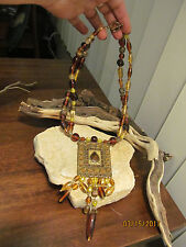 Vintage Gold Brass tone Egyptian Glass Amber Beaded Necklace
