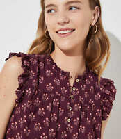 NWT Ann Taylor LOFT Burgandy Plum Bouquet Ruffle Henley Shell Top blouse