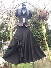 Gothic Black Full Skirt Steampunk Punk Rave Pagan Lagenlook Victorian Gypsy Larp