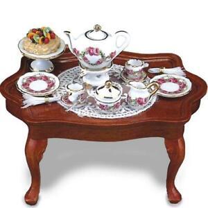 Coffee Table w Tea Setting 1.785/1 Reutter Roseband Dollhouse Miniature