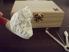 Turkish Meerschaum Tobacco Pipe Set  - Personalized Natural Wood Box - Bacchus