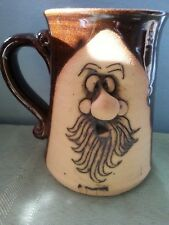 """Vintage Stoneware Mug with Face and beard large nose artist unknown 5 1/4"""" tall"""