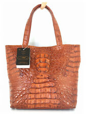 100% BIG HORNBACK GENUINE CROCODILE LEATHER HANDBAG BAG TOTE GOLDEN TAN NEW