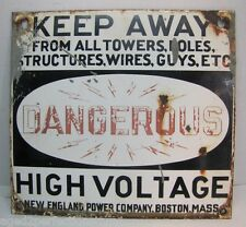 Old 2x Porcelain DANGEROUS HIGH VOLTAGE Sign New England Power Co Boston Ma