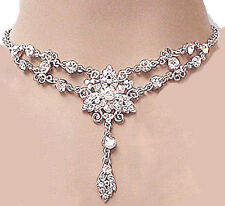 710 Bridal Vintage Victorian Clear & AB Swarovski Crystal Elements Necklace Set