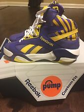 Reebok Pump Shaq Attaq M40343 Purple/Yellow/White LSU Lakers SZ 8.5