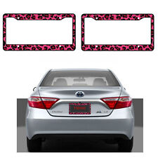 New 2pcs Pink Leopard Print Car Truck Suv Van License Plate Frames Made in USA