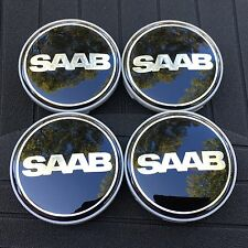 SAAB NEW (SET OF 4) (64mm/2.5IN) BLACK  WHEEL CENTER CAPS 9/2-7 WC4PC526A