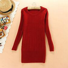 Caldo morbido maglione maglia pullover donna rosso scollo tondo misto lana 4262