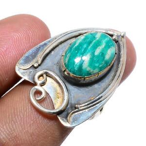 Russian Amazonite Oxidize Gemstone 925 Sterling Silver Handmade Ring s.7 M154