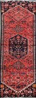 Vintage Geometric Tribal Bakhtiari Wool Runner Rug Hand-Knotted Carpet 2'x6'