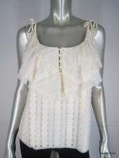 NWT $350 ANNA SUI 8 M Ivory Lace Wide Ruffle Spaghetti Strap Top Cami USA NEW