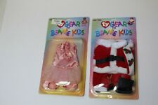 2 NOS Ty Gear For Beanie Kids Outfits In Packages - Santa And Ballerina