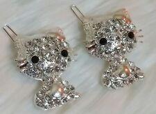 Hello Kitty Silver Tone With Shiny Rhinestones Hair Brooches Accessory Clip