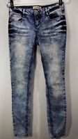 Blue Spice Junior's Skinny Dark & Light Wash Distressed Embroidered Size 7 Jeans