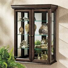 BN2430 - Country Tuscan Style Hardwood Wall Curio - Walnut Finish