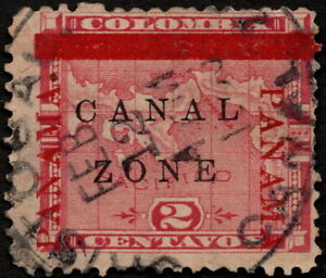 Canal Zone - 1904 - 2 Cents Rose  Overprinted Panama Map Issue #11 Cristobal CDS