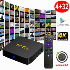 MX10 4+32G RK3328 Android 8.1.0 Oreo Smart TV BOX Quad Core USB 3.0 4K Media UK