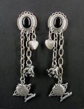 STC Long Black Onyx with Dangle Charms Sterling Silver Pierced Earrings