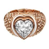 GUESS Anello Donna Jewels UBR41107L fascia acciaio pvd oro rosa cristalli cuore