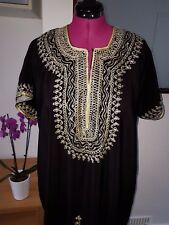 Moroccan Kaftan Carbon Black BEACH House Summer Dress One Size