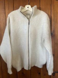 Vintage LL Bean Ivory Alpaca Full Zipper Front Sweater LT