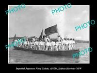 OLD POSTCARD SIZE PHOTO OF JAPANESE NAVY CADETS IN SYDNEY HARBOURS c1920s