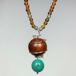 Artisan Handmade Necklace with Amber Glass Beads and Howlite Wood Pendant N011