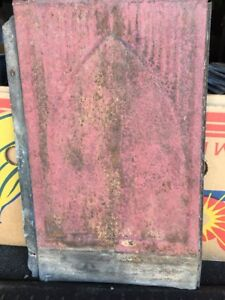 ANTIQUE PRESSED TIN METAL RECLAIMED WALL ROOF CEILING TILES 9 X 14 RED