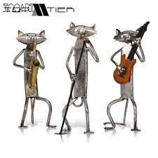 Tooarts Metal Figurine A Playing Guitar/Saxophone/Singing Cat Figurine Furnishin