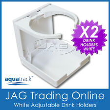 2 x ADJUSTABLE FOLDING WHITE DRINK CUP HOLDERS- Boat/Marine/Caravan/Car/4x4/RV W