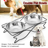 Double Pet Bowls Dish Dog Cat Durable Stainless Steel Stand Feeder Food  /*/