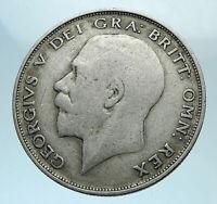 1922 Great Britain United Kingdom UK King GEORGE V Silver Half Crown Coin i78182