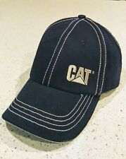 Caterpillar Double Stiched Navy Hat Cap Silver Front Logo Metal CAT Buckle Strap